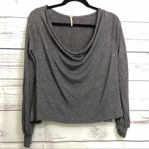Free People Gray Drape Neck Shirt with Sparkle